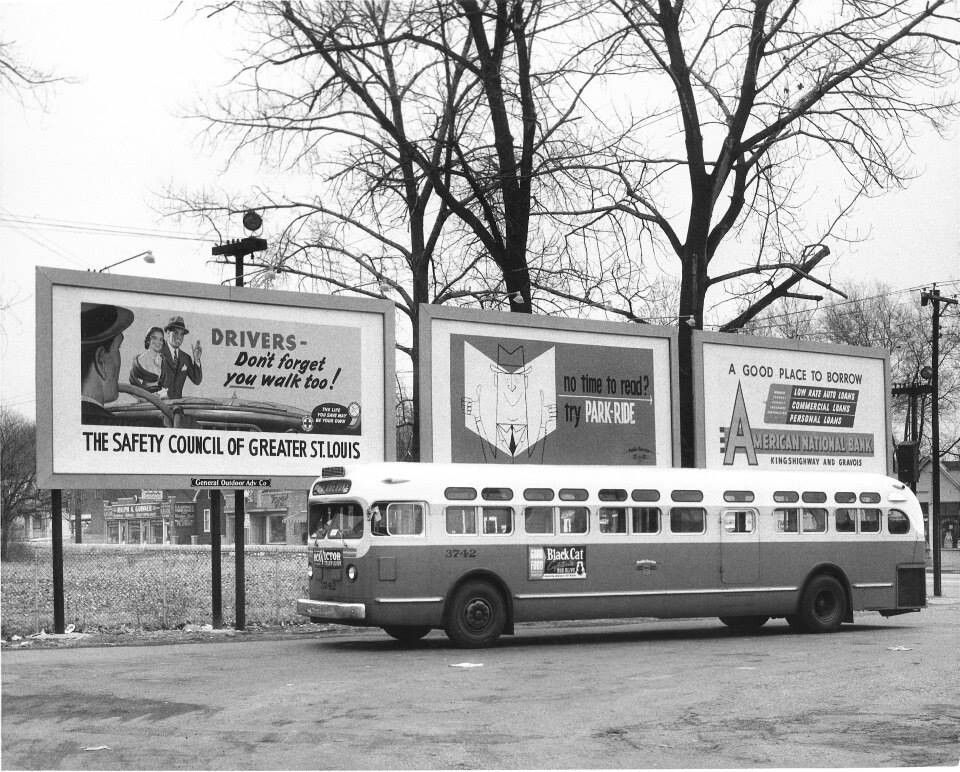 St Louis Buses Vintage Safety Billboards 1940s & 1950s