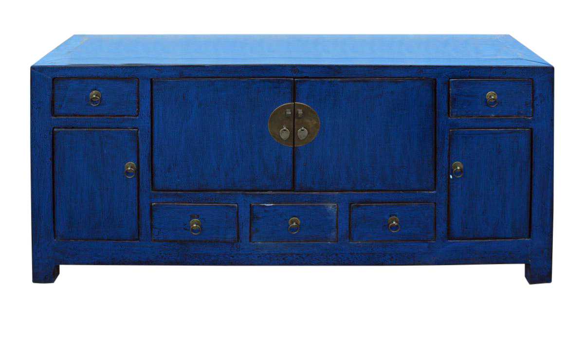 Chinese indigo blue low tv console table cabinet on chairish com