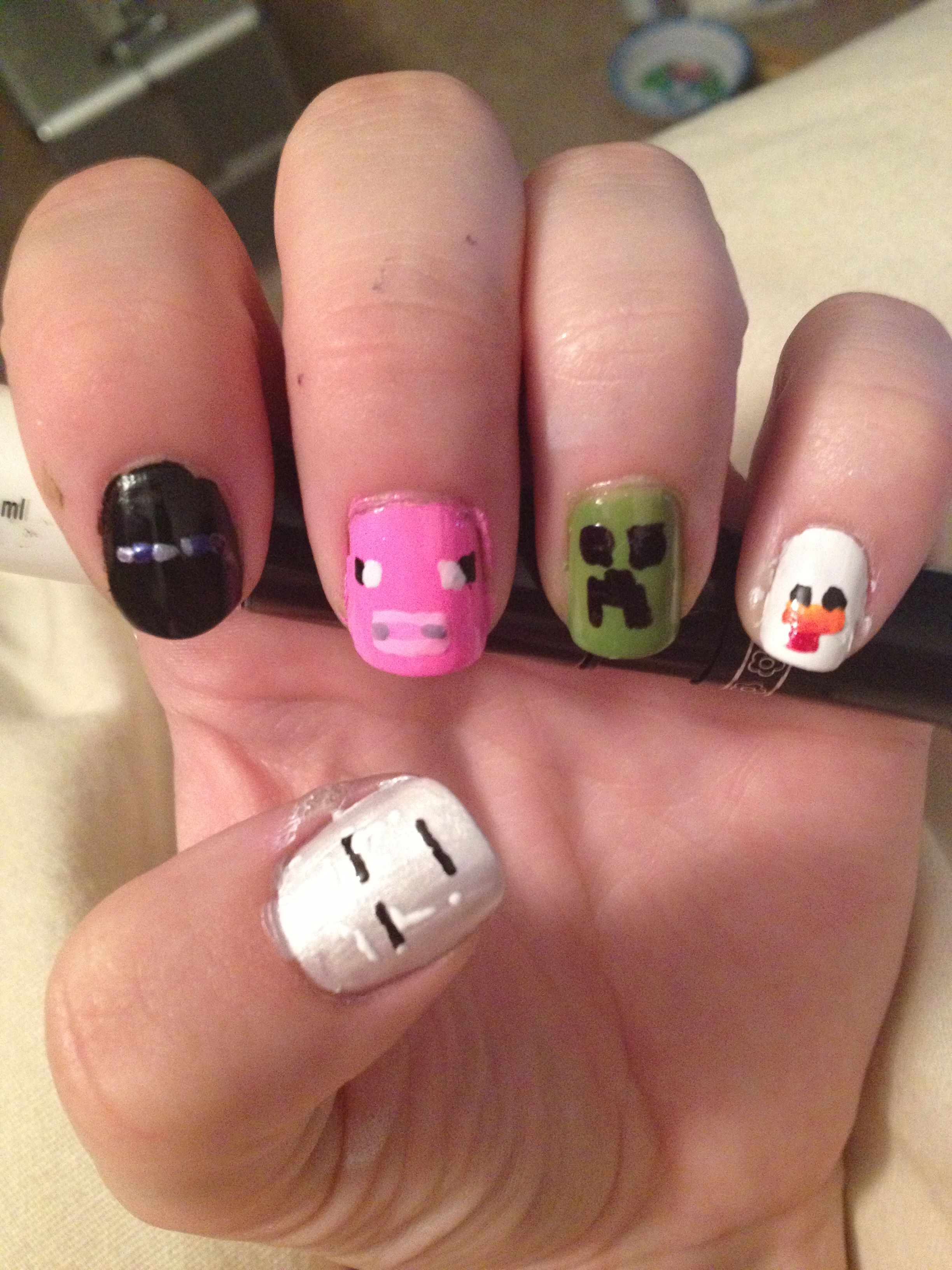 Minecraft nails by using Migi nail art pens. | Nail Art | Pinterest