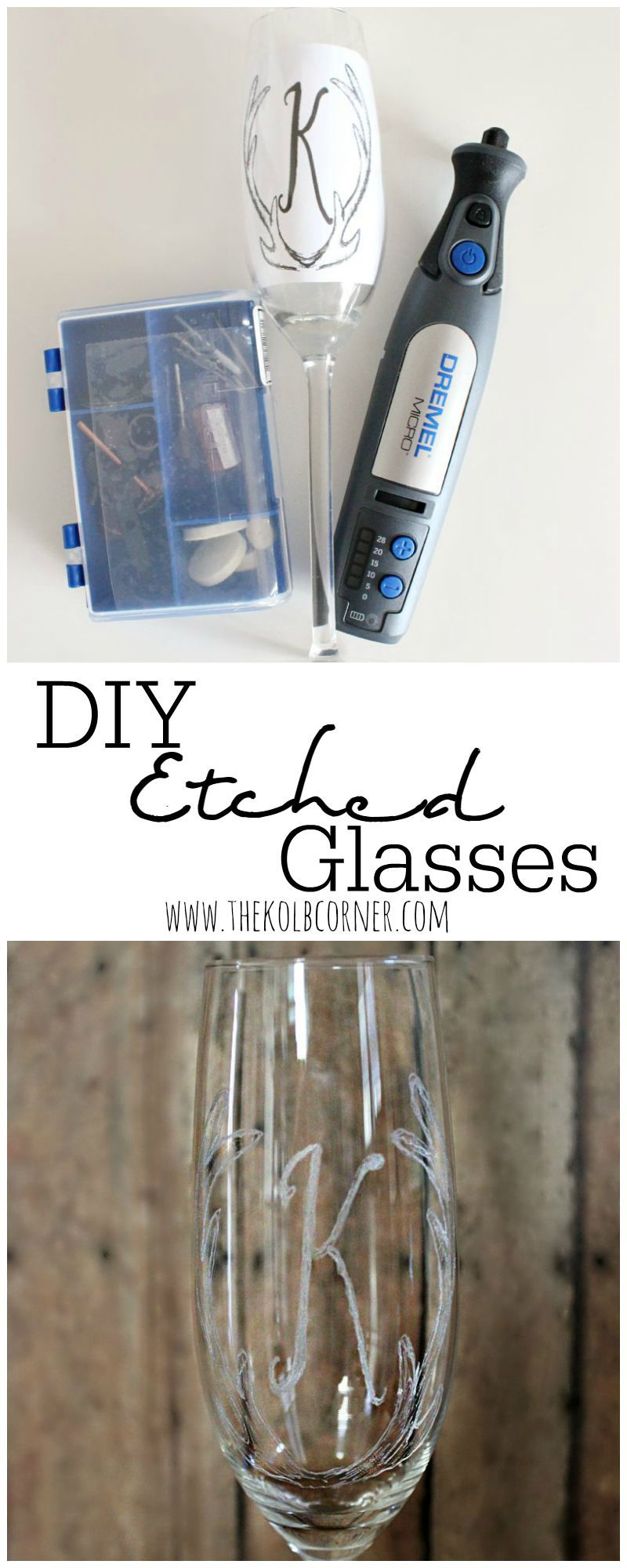 DIY Etched Champagne glasses using Dremel Micro