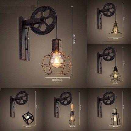 Style loft edison applique murale creative de levage poulie vintage mur lampe - Eclairage loft industriel ...