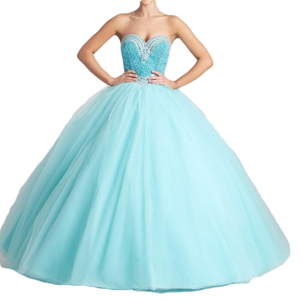 Banzhang womenus sweetheart pearls ball gown long quinceanera prom