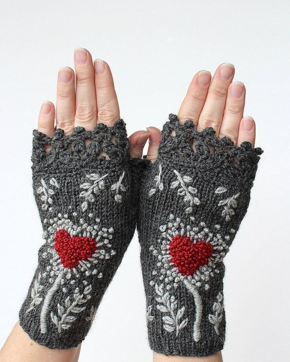 Photo of Valentine's Day Gloves With Heart, Knitted Fingerless Gloves, Gloves With Heart, Embroidered Mittens, Grey And Red, Gifts For Women, Gray
