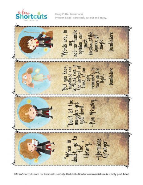Dashing image pertaining to harry potter printable bookmark