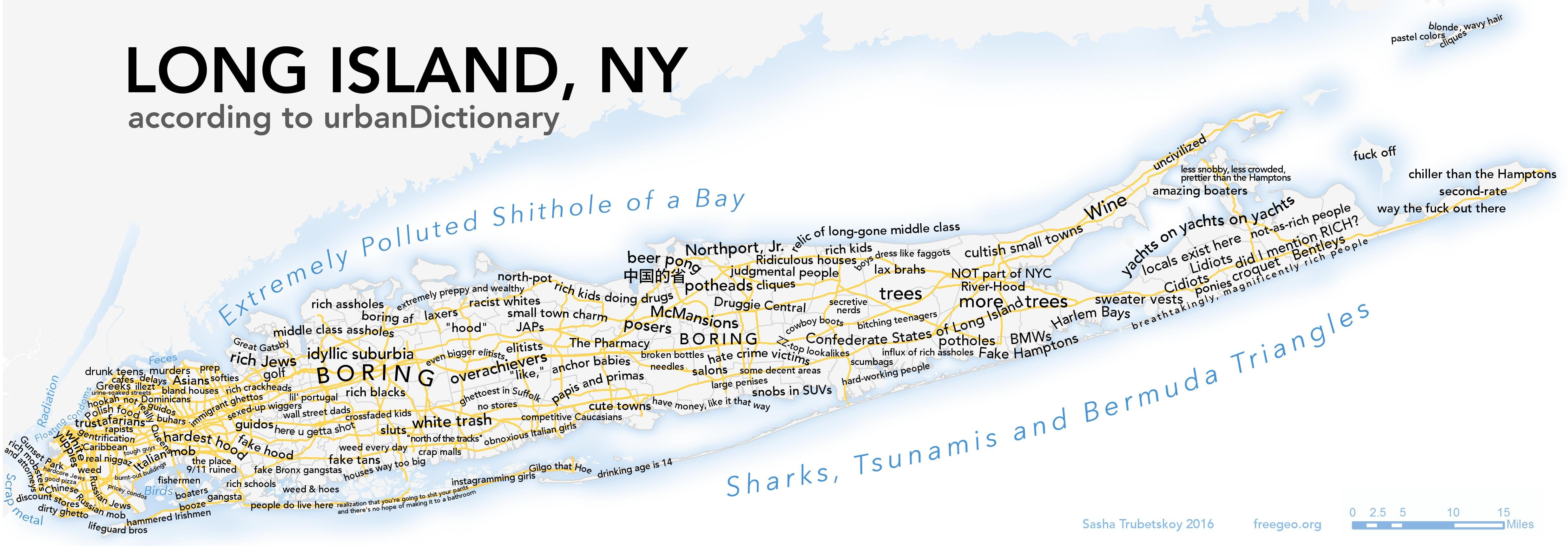 Long Island according to urbanDictionary by Trubetskoy map
