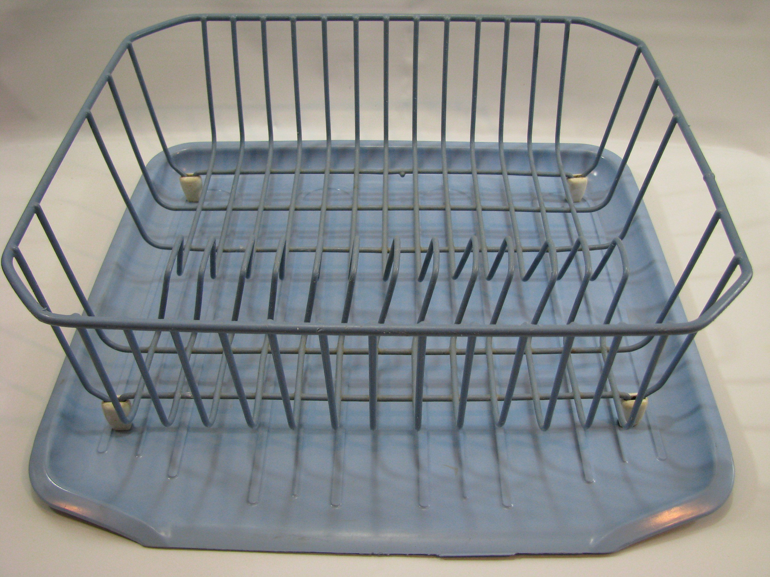 Choice Vintage Blue Rubbermaid Rubber Covered Wire Dish Drainer