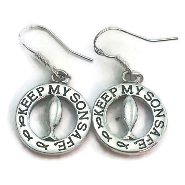 Perfect for a mom that has a son going through a difficult time, this set helps them have a constant prayer to keep their son safe. This set has a Christian fish in the center of the circle and 'Keep my son safe' inscribed around the charms and pendant