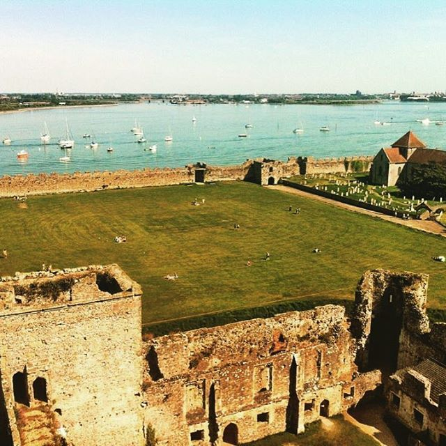 http://electroosmosisltd.co.uk #ruins #ruinedcastle #castle #porchester #porchestercastle #square #church #churchofengland #sea #view #ontheroof #travel #exploringbritain #england #englishheritage #heritage #buildingconservation #grass #yew #theoldesyew #walls #Capturing_Britain