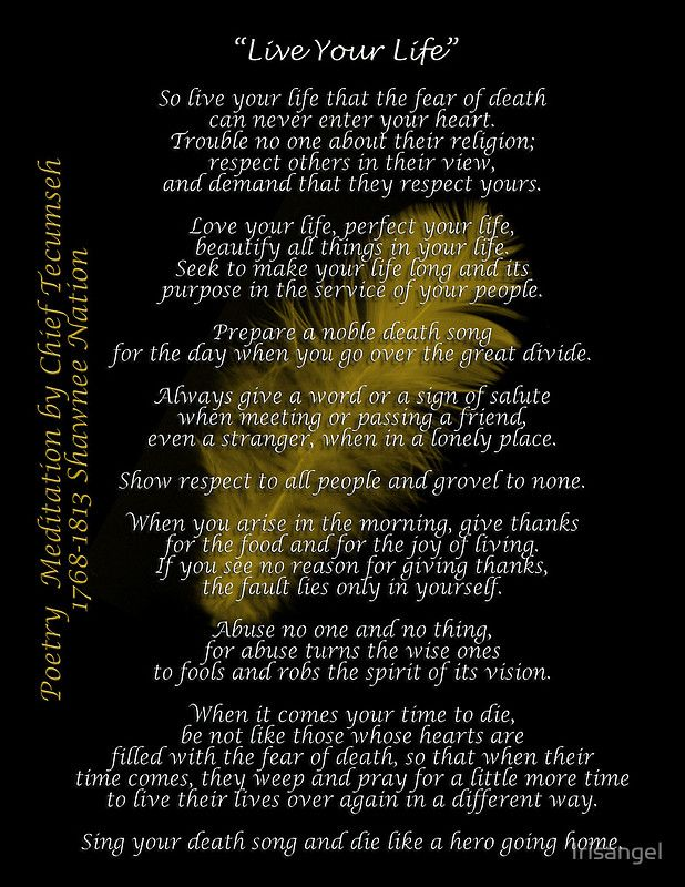 Tecumseh Poem Well Said Live Your Life Nativity Feather