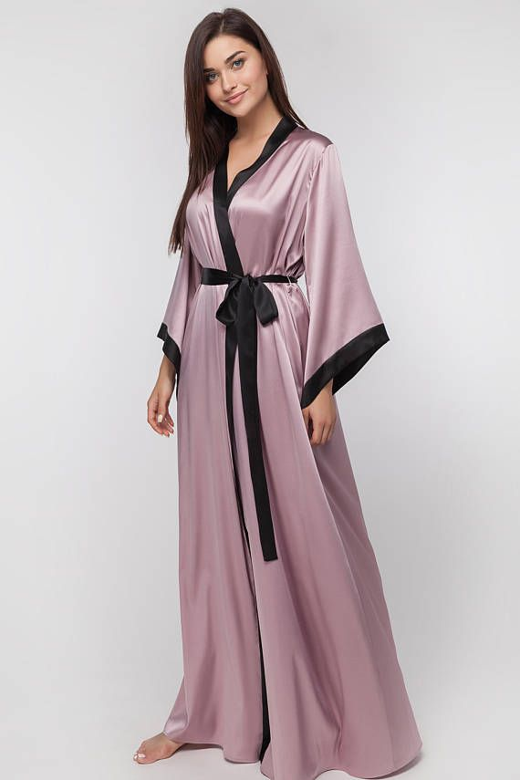 924cb610b8 Long Silk Bridal Robe