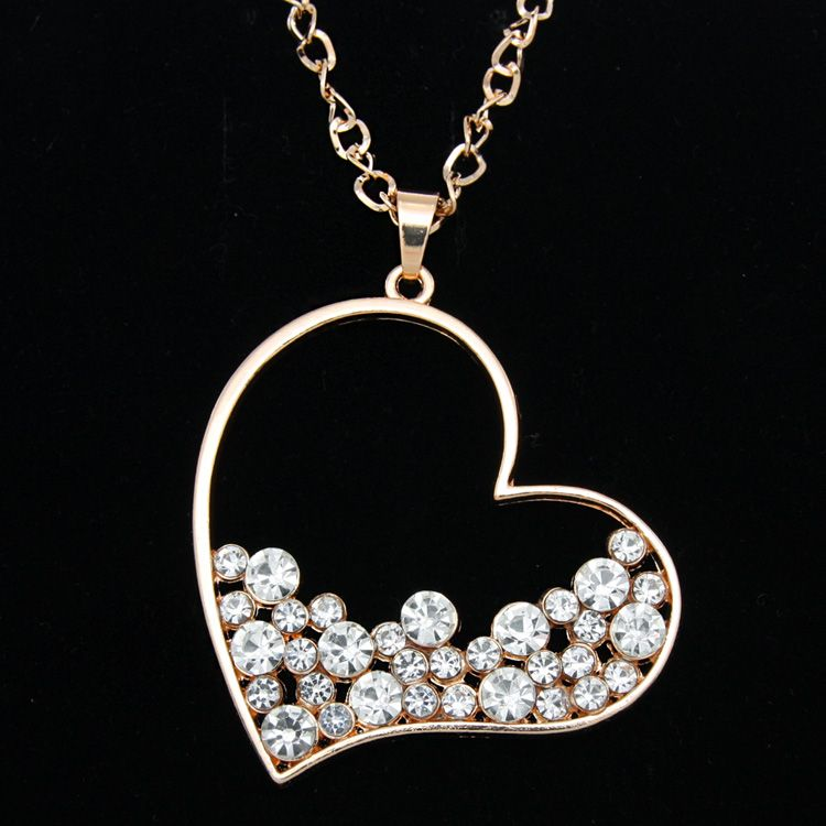 Gold Rhinestone Heart Pendant Long Chain Necklace Pendants for ...