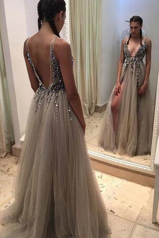 645dc74436 Grey Backless Deep V-neck Split Sweep Train Prom Dress with Beading ...