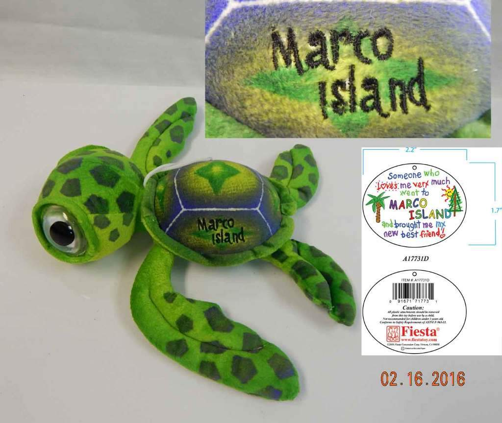 "Wholesale 11.5"" Big Eye Green Sea Turtle with ""Marco (Case of 24)"