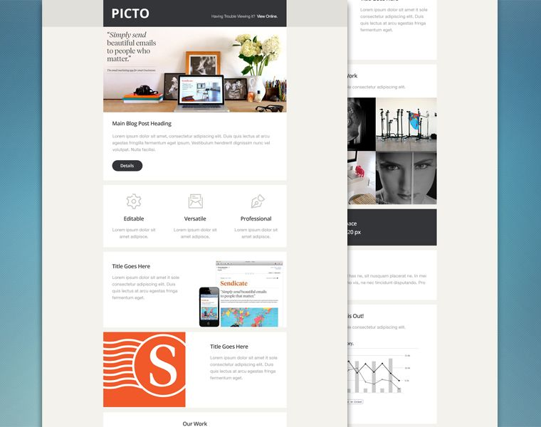 Picto This Sleek Flat Email Template Comes With Various Content Options And Can Be Customized In P Psd Templates Psd Template Downloads Free Email Templates