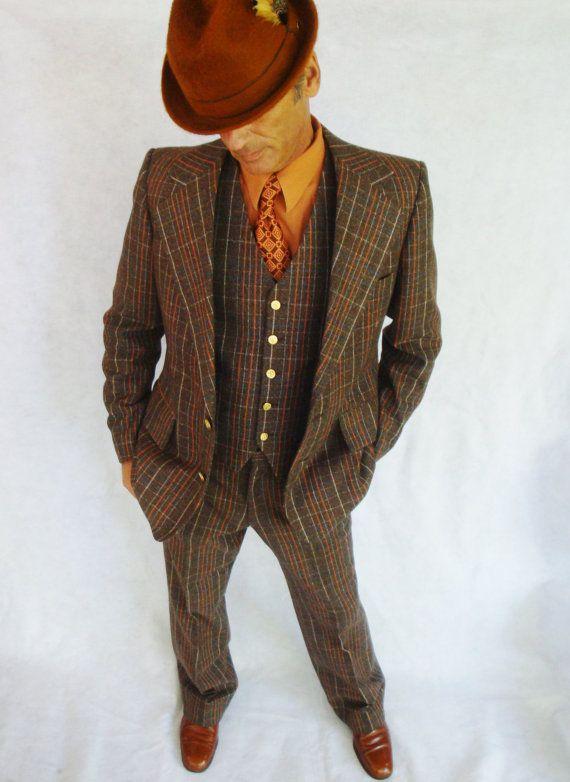 70s Suit Brown Amp Orange Plaid 3 Piece Suit Player Sport