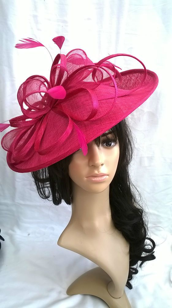 Fuschia Pink Feather Fascinator..Hatinator disc turned up brim Wedding .races.new 252d380571d