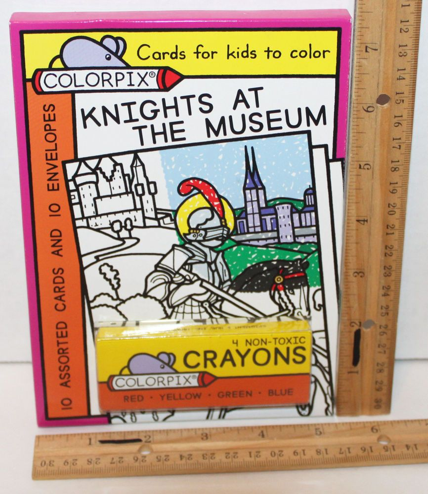 Color cards for kids - Details About Knights At The Museum Colorpix 10 Cards Kids Or Adults Color Crayons 7x15