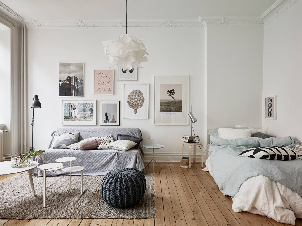 privacy please ideas for carving out a cozy bedroom in a studio interiors white natural gray. Black Bedroom Furniture Sets. Home Design Ideas