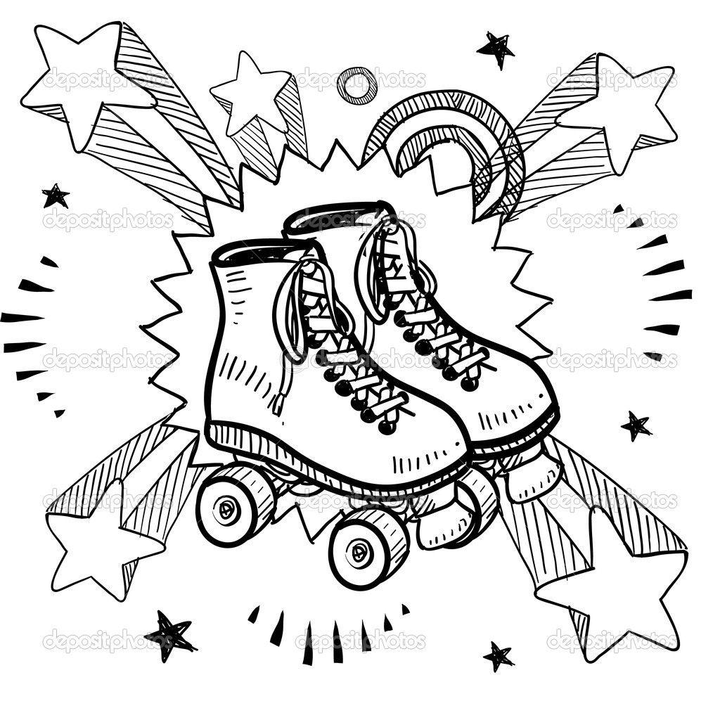 Roller skating excitement sketch — Stock Illustration