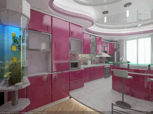 fucsia and white kitchen