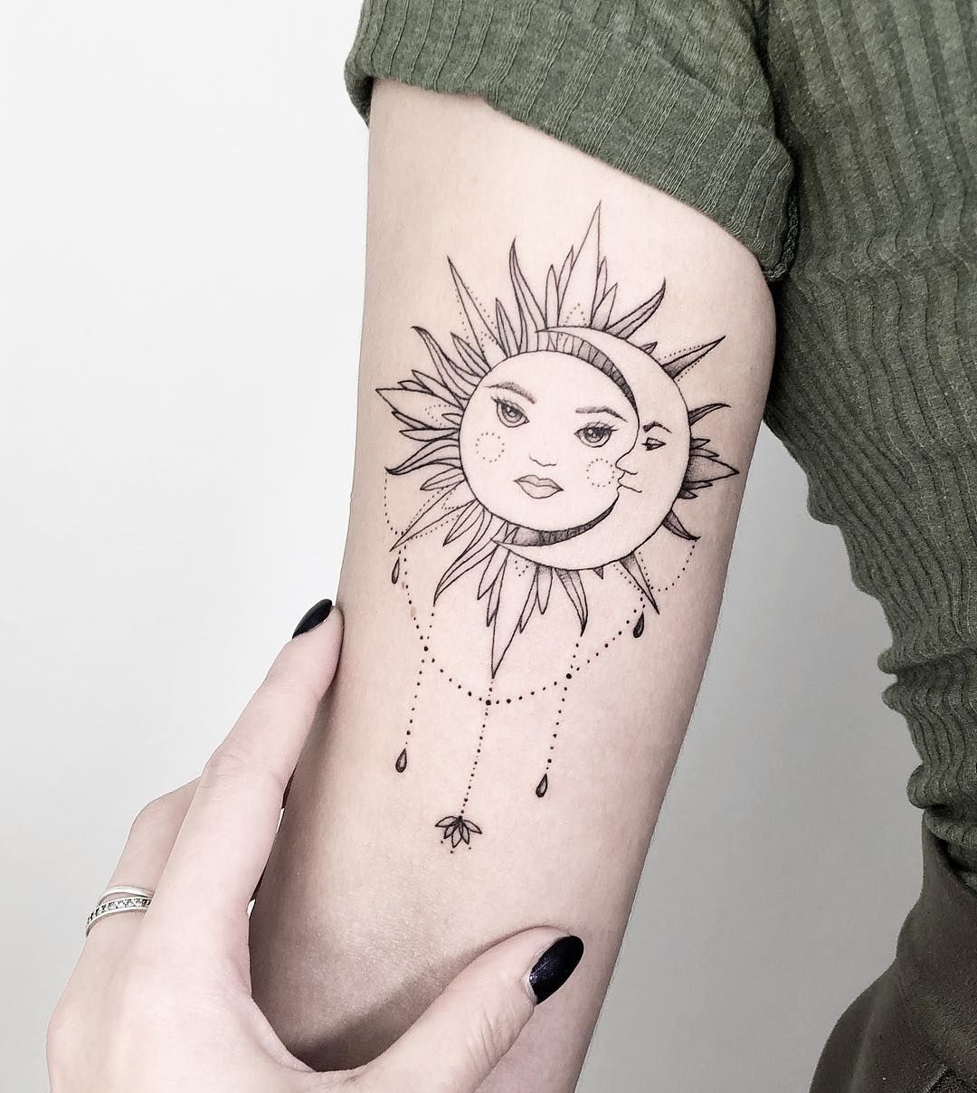 Sun and moon tattoo Moon tattoo, Boho tattoos