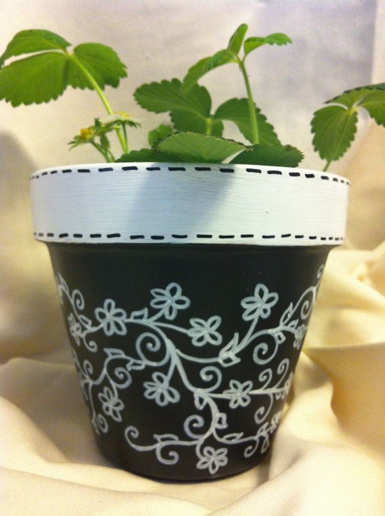 Black White Vines Terracotta Pot By Lizandsara On Etsy 12 00