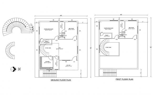 Floor Plan Of Residential House 40 X 48 With Detail Dimension In Autocad File In 2020 Floor Plans Residential House House