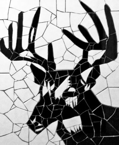 Stag Tile On Board Black And White Mosaic