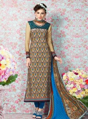 b69a6459d9 #Blue and #Beige #Printed #Straight #Churidar #Suit Features on french crape  fabric top and bottom, printed top with embroidery on yoke and matching  chiffon ...