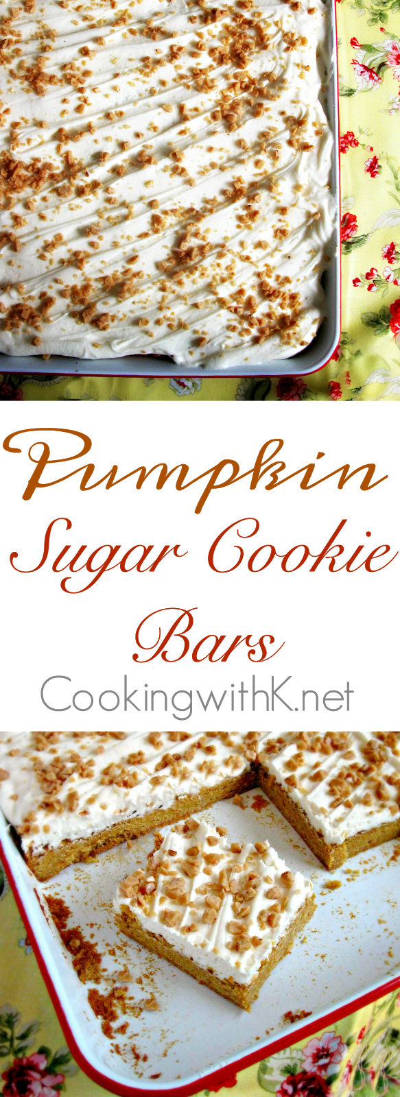 Pumpkin Sugar Cookie Bars with Buttercream Frosting and Toffee Bits