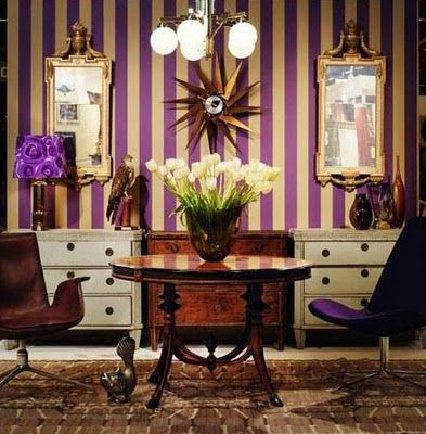 LOVE the purple and gold striped walls | Gold rooms, House ...