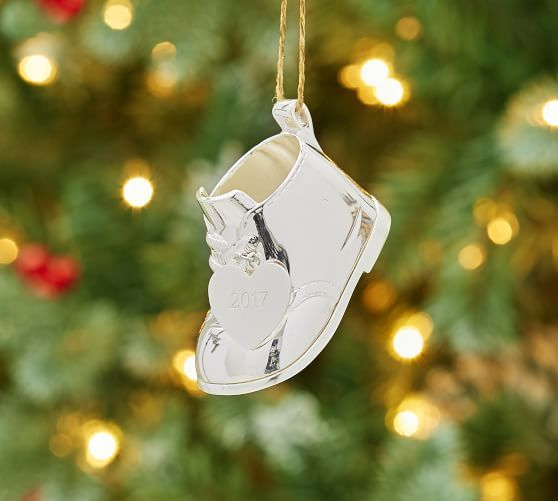 8587840b8eb95 Silver-Plated Baby s First Christmas Boot Ornament
