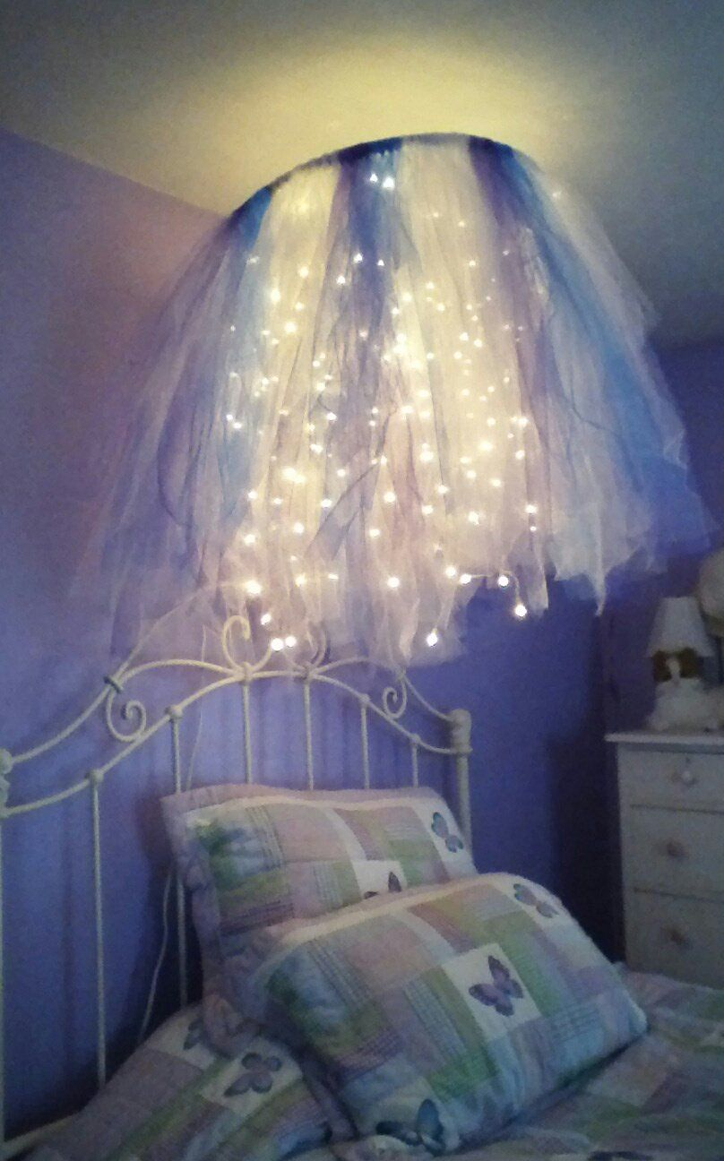 Hula hoop chandelier i made for my daughter 39 s room 2 for Chandelier light for girls room