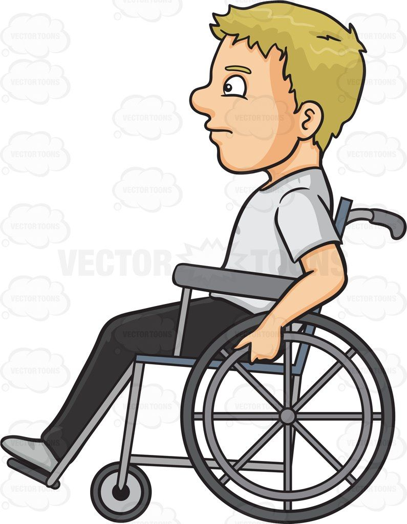 A Man In A Wheelchair Vector Graphics Vectortoons Com Clip Art Cartoon Drawings Cartoon