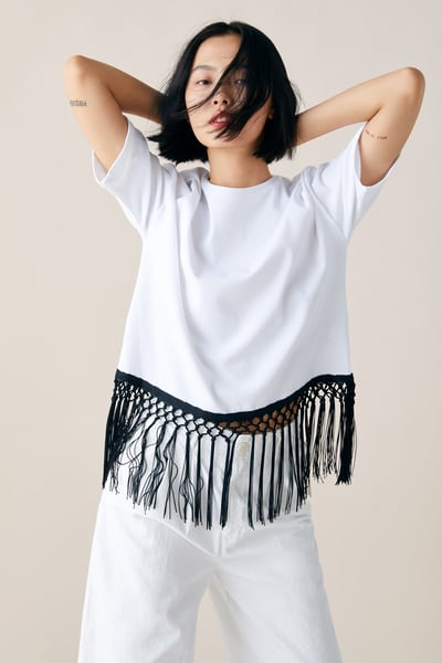 75a51fa144b847 ZARA - Female - Fringed t-shirt - White - S in 2019 | Products | T ...