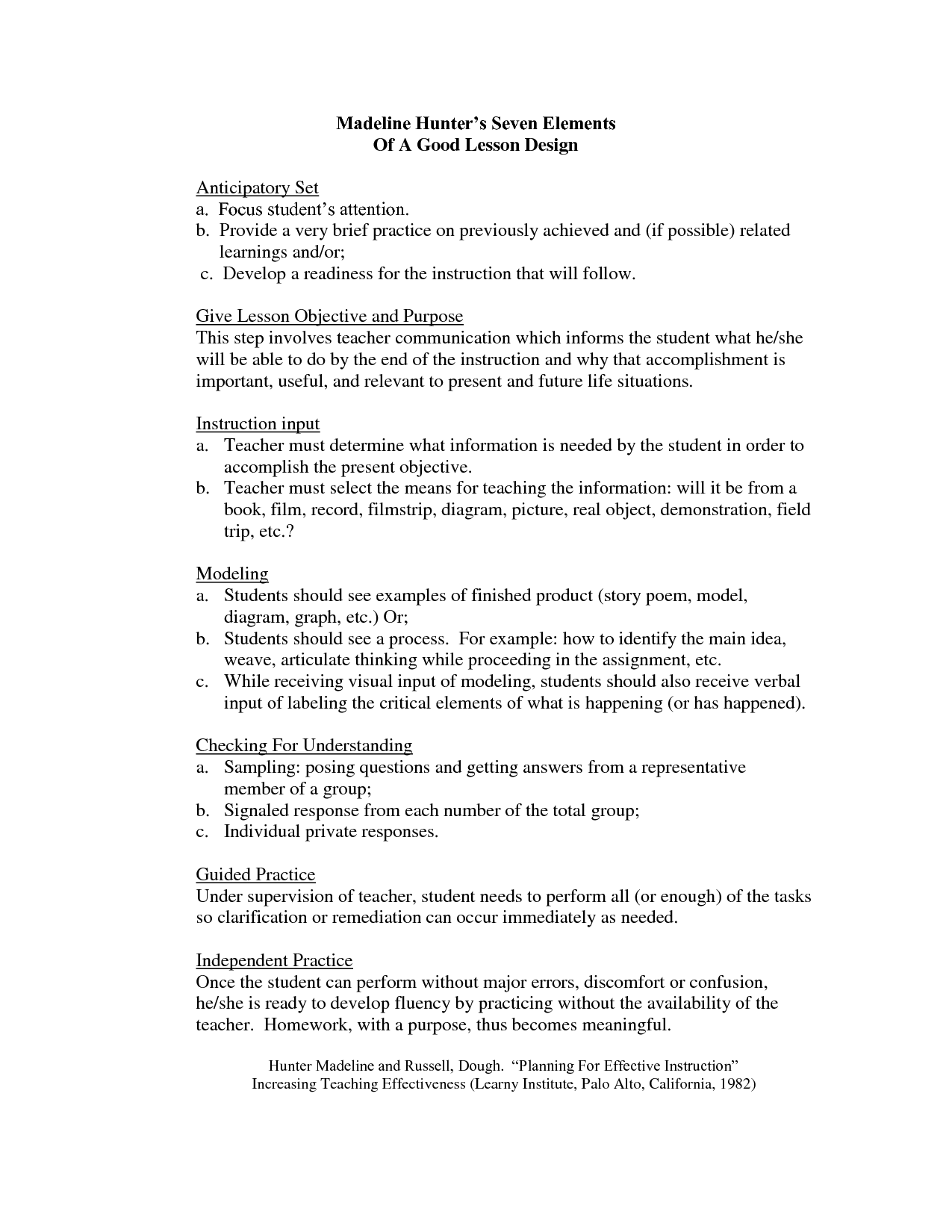 Madeline Hunter Lesson Plan Format Template   Google Search