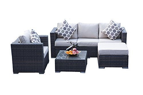 Yakoe Rattan 5-Seater Garden Furniture Sofa Table Chairs Set - Brown ...