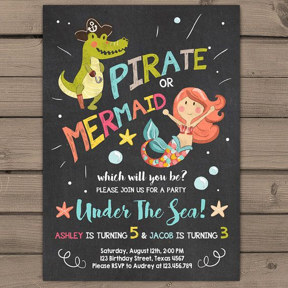 Pirate or mermaid birthday invitation joint birthday party pool pirate or mermaid birthday invitation joint by anietillustration filmwisefo Images