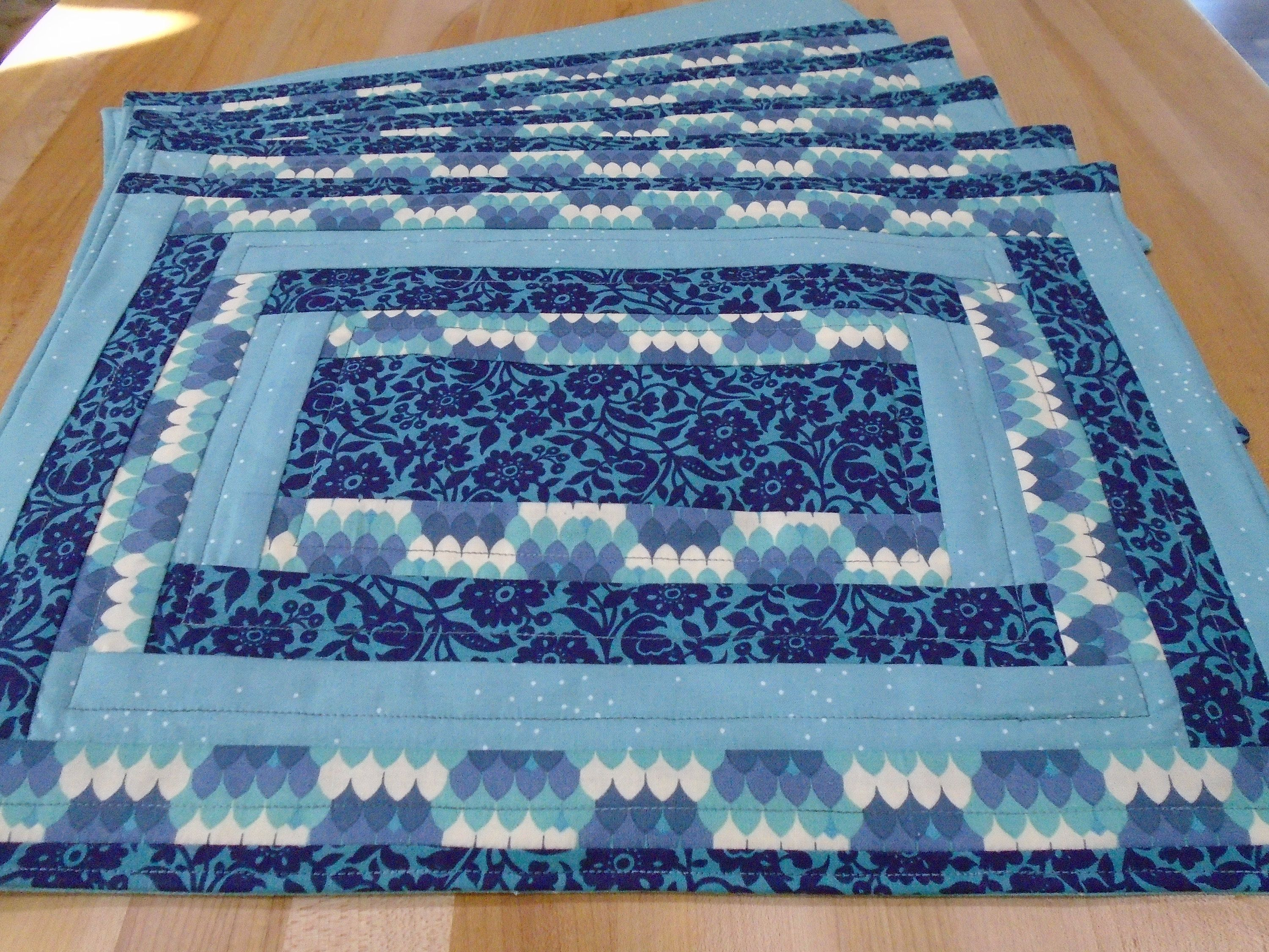 Set Of 6 Placemats Navy Teal Blue