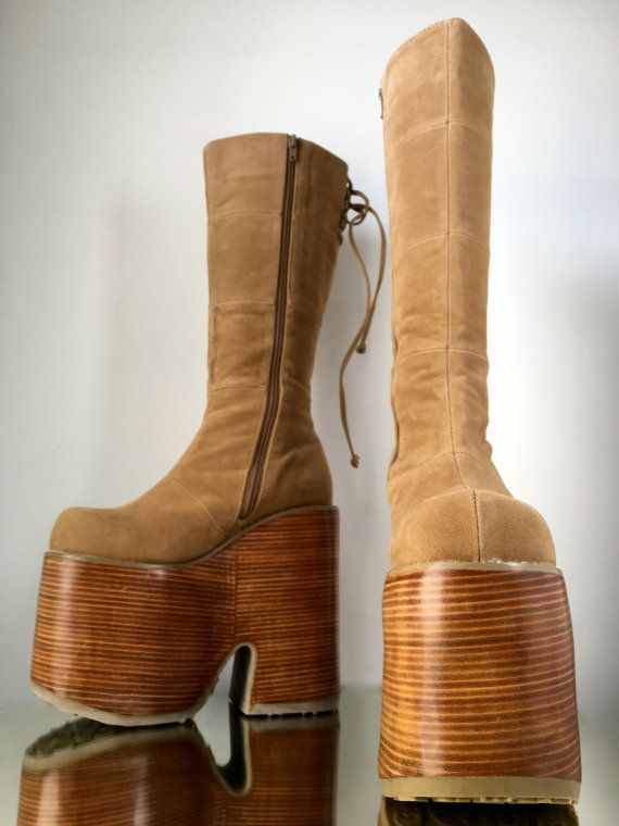 Pin on vintage platform shoes and boots