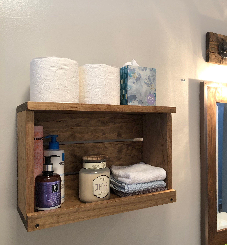 Bathroom Shelf Wood Wall Mounted Cosmetics Storage Rustic Modern