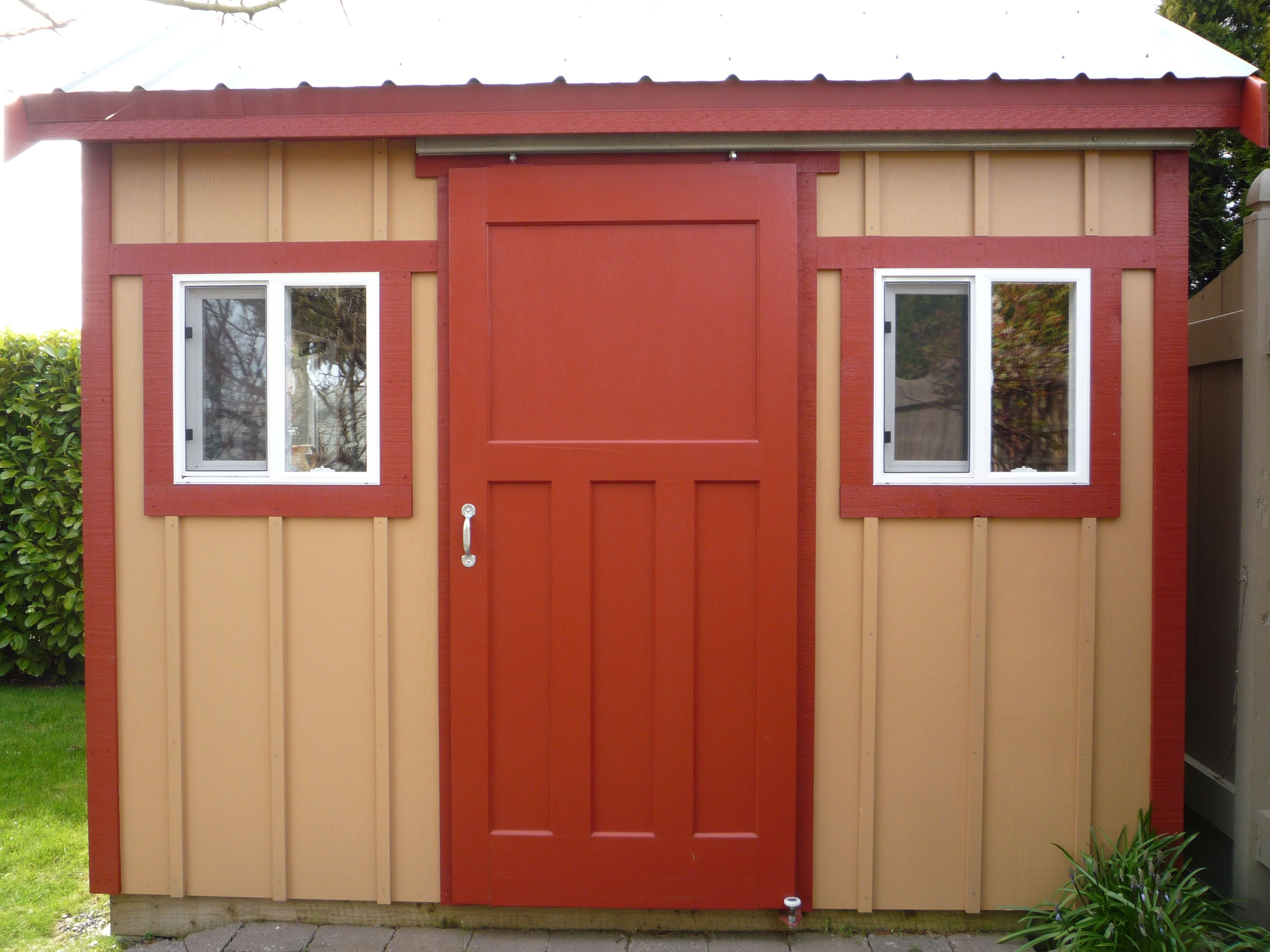 red and white barn doors. Ideas, Adorable Red Exterior Sliding Barn Doors In Brown Design With White Window Decor Ideas: Attractive Ide. And