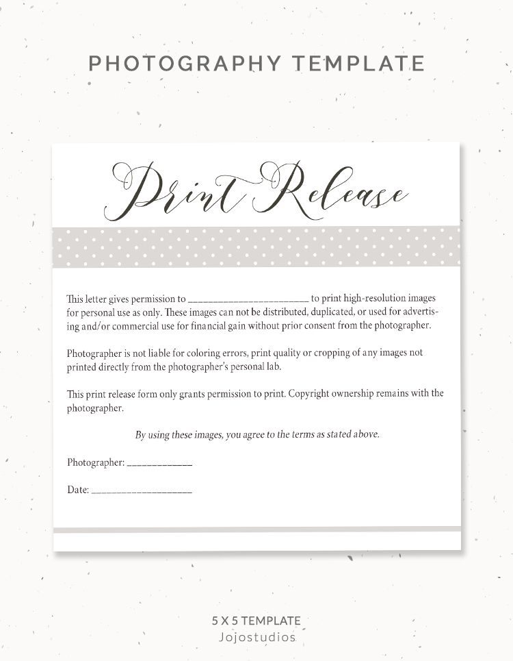 Photography Print Release Form Pr001 Photography Pricing