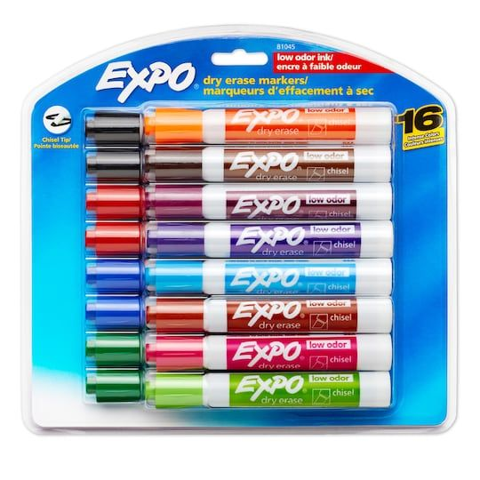 Expo Low Odor Dry Erase Marker Chisel Tip Assorted 16 Set Dry Erase Markers Expo Marker Dry Erase