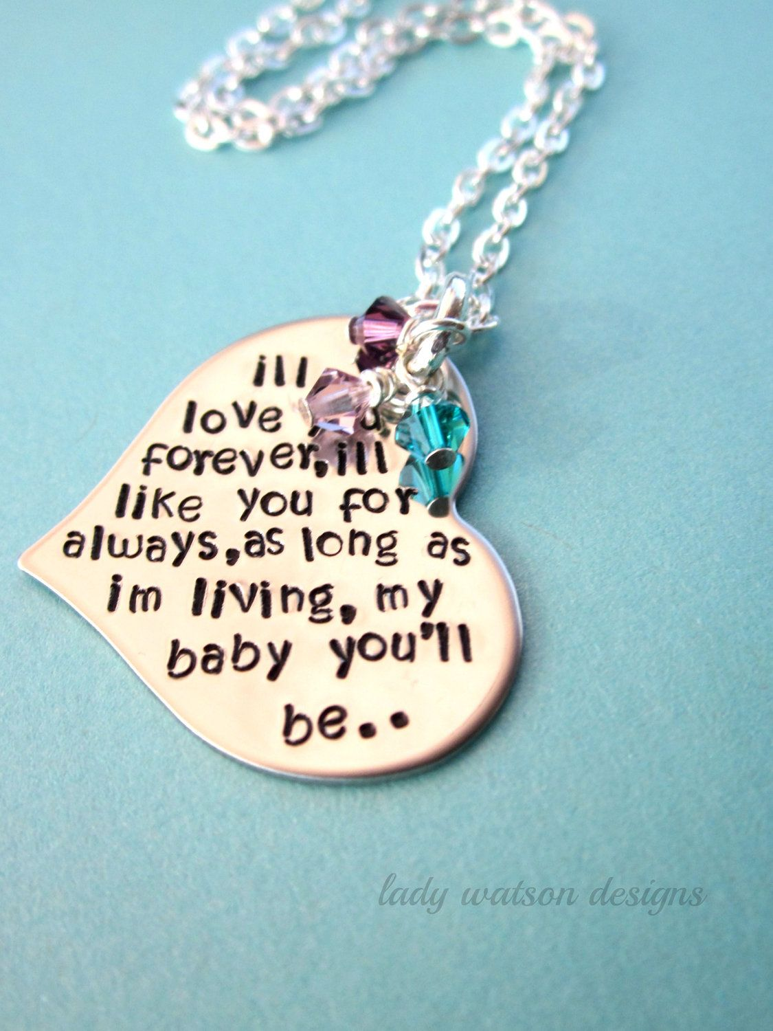 Iu0027ll Love You Forever Book Quote Heart Handstamped Necklace, Birthstones,  Mother Jewelry