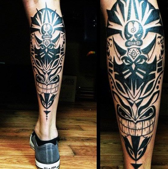 60 tribal leg tattoos f r m nner coole kulturelle design. Black Bedroom Furniture Sets. Home Design Ideas