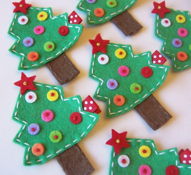 Christmas Tree Felt Hair Clip - Red and Green - Christmas Winter Holiday Hair Clips. $3.50, via Etsy.