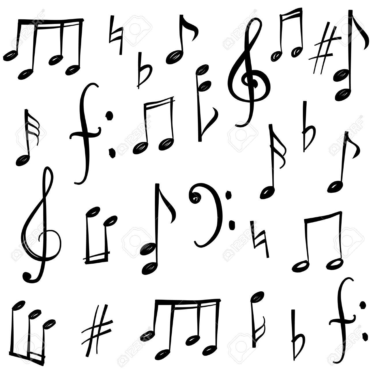 44973740 music notes and signs set hand drawn music symbol sketch music notes and signs set biocorpaavc Images