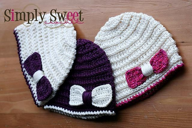 Claire Beanie Bow Crochet Crochet Baby And Crochet Accessories
