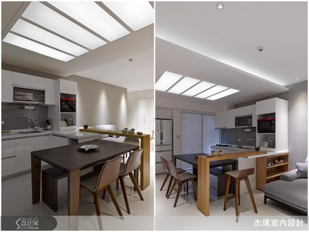 餐廚空間利用流明天花,增添了柔和的燈光,再以白色系的廚具櫃體,統一空間用色主調,創造出視覺放大感。